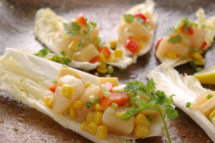 白菜とたけのこと帆立貝のタルタル