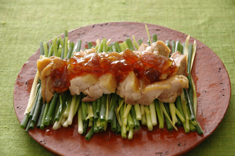 蒸し鶏と万能ねぎのサラダ