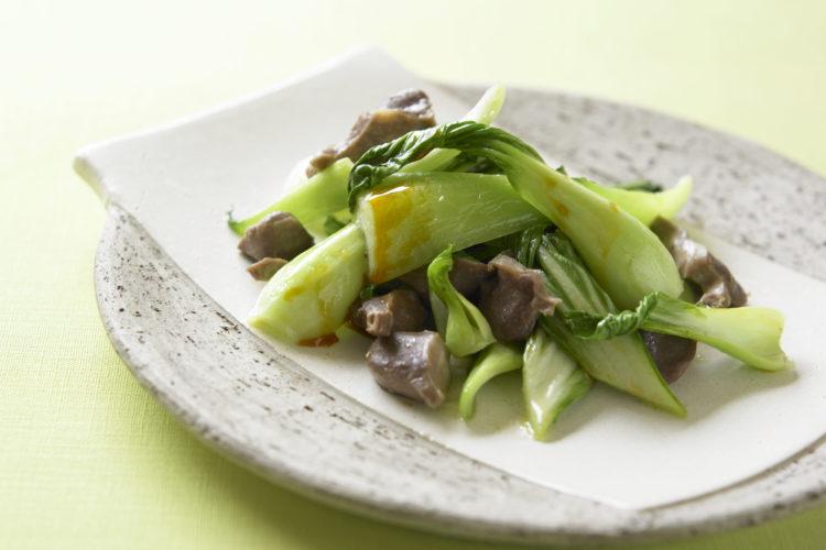 チンゲン菜と砂肝の炒めもの