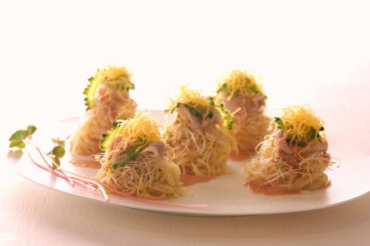 ゴーヤと豚しゃぶの梅ごま冷し中華