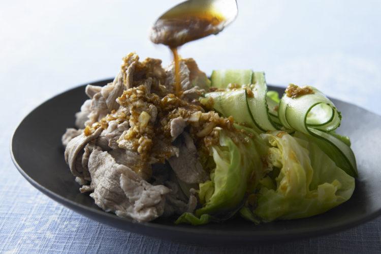 豚こま肉とゆでキャベツの四川風