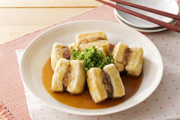 豆腐とひき肉のはさみ揚げ焼き