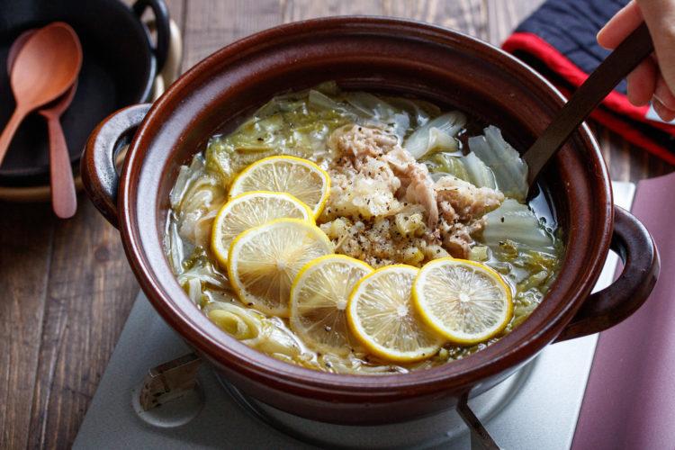 豚バラ白菜のねぎ塩レモン鍋