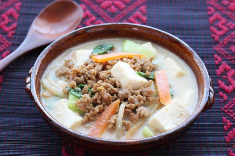 担々風ごま味噌豆乳スープ