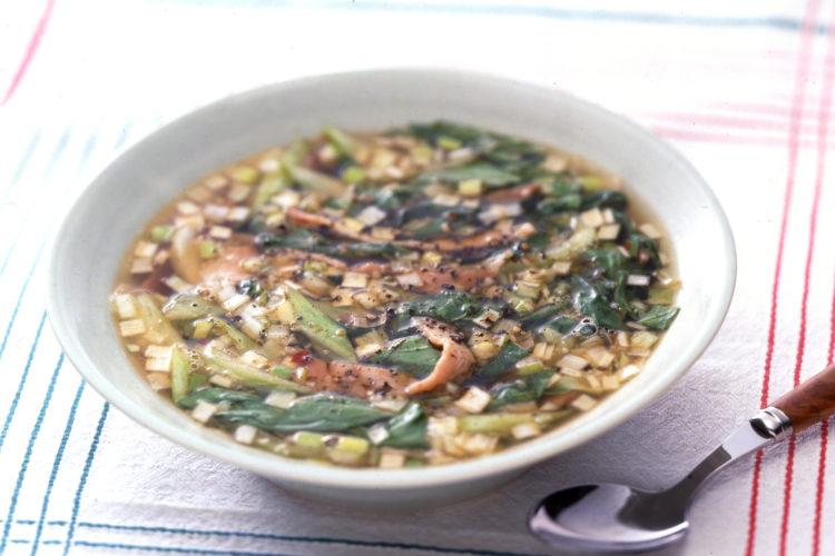 ハムとチンゲン菜のスープ