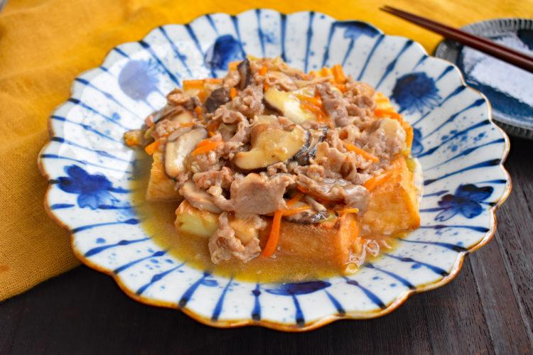 【下味冷凍】豚と野菜の万能あんかけ厚揚げ