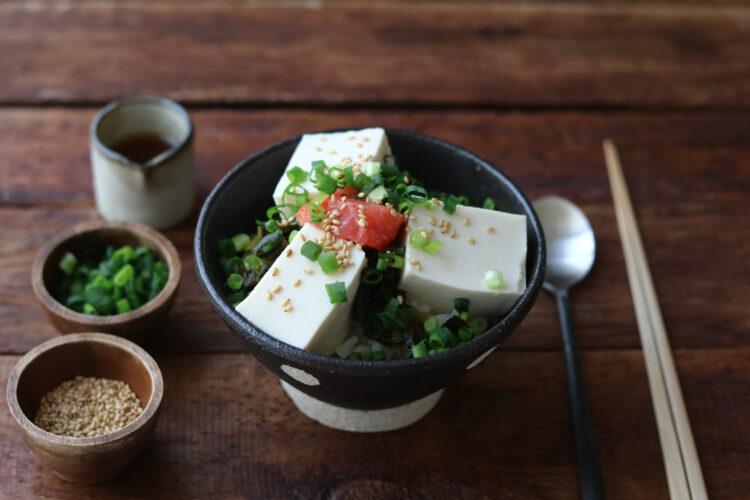 明太高菜豆腐丼